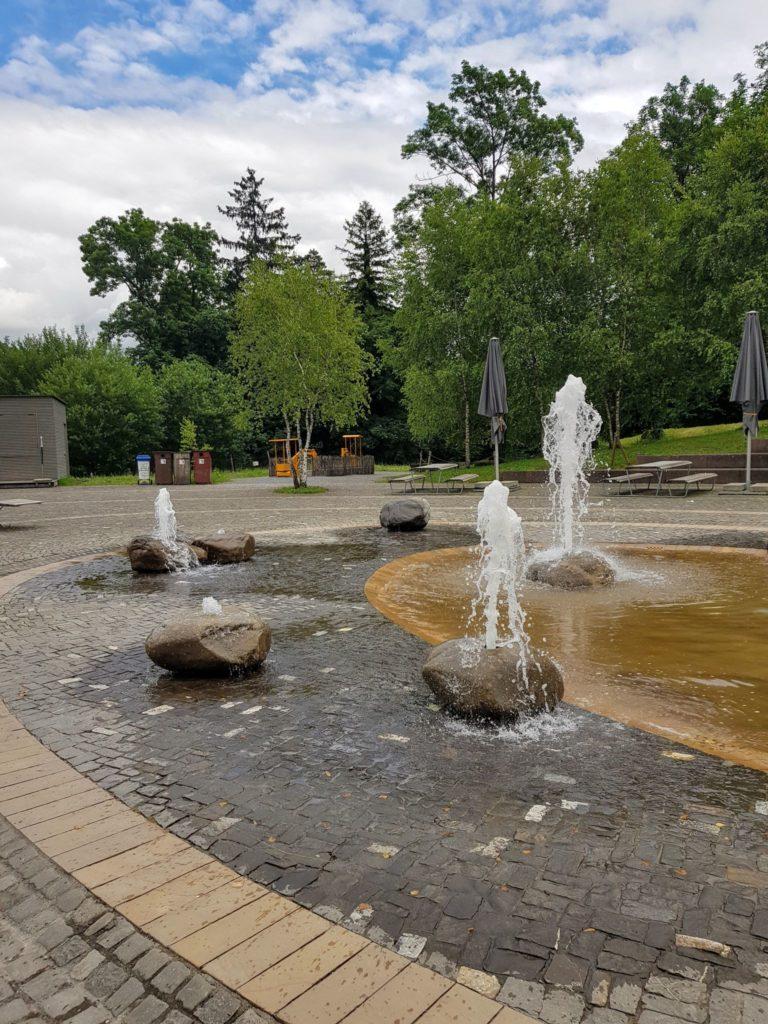 Der Springbrunnen im Tierpark Goldau ist die perfekte Abkühlung an heissen Tagen.